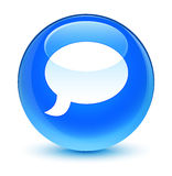 Chat icon glassy cyan blue round button Stock Photos