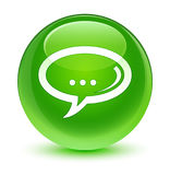 Chat icon glassy green round button Stock Photo