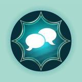 Chat icon magical glassy sunburst blue button sky blue background royalty free illustration
