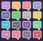 Chat icon set. Speech bubble with emotion faces Stock Images