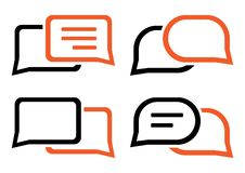Chat icon. Set dialog clouds. Black and orange colors. Vector illustration royalty free illustration
