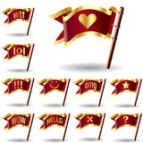 Chat icon set on flags. Chat or instant message icons on royal vector flag buttons Royalty Free Stock Images