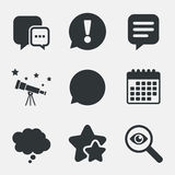Chat icons. Comic speech bubble signs. Think. Royalty Free Stock Images