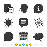 Chat icons. Comic speech bubble signs. Think. Chat icons. Comic speech bubble signs. Communication think symbol. Information, go to web and calendar icons. Sun royalty free illustration