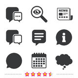 Chat icons. Comic speech bubble signs. Think. Royalty Free Stock Photos