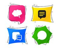 Chat icons. Comic speech bubble signs. Think. Vector. Chat icons. Comic speech bubble signs. Communication think symbol. Geometric colorful tags. Banners with royalty free illustration