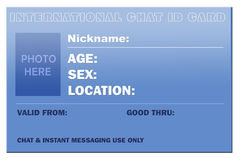 Chat ID card. ID card for chat/messenger users, perfect for funny advertising ideas Royalty Free Stock Photography