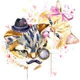 Chat Illustration mignonne de chat Carte d'amour Photos stock