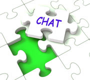 Chat Jigsaw Shows Chatting Talking Typing Or Texting Stock Photography