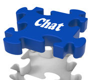 Chat Jigsaw Shows Talking Chatting Typing Stock Images