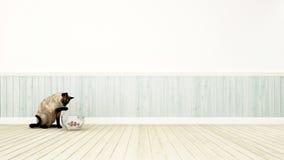 Chat jouant avec le cowfish dans le rendu de la décoration room-3D illustration stock