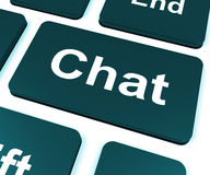 Chat Key Shows Talking Typing Or Texting Royalty Free Stock Images