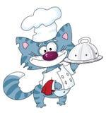 Chat le cuisinier avec le plateau Illustration Libre de Droits