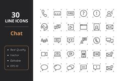 30 Chat Line Icons. High quality chat line icons. Icons for user interfaces and web Stock Photo