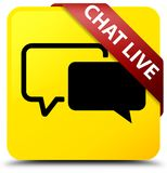 Chat live yellow square button red ribbon in corner. Chat live isolated on yellow square button with red ribbon in corner abstract illustration Royalty Free Stock Photography