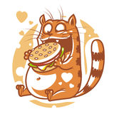 Chat mangeant le grand hamburger Images libres de droits