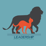 Chat marchant avec l'ombre de lion Photo stock