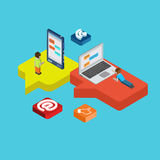 Chat message social media flat 3d isometric concept vector Stock Images