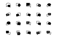 Chat Messages Line Vector Icons 3 Royalty Free Stock Photos