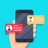 Chat messages notification on smartphone  illustration, flat cartoon sms bubbles on mobile phone screen. Man person chatting on cellphone with woman isolated Stock Photography