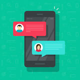 Chat messages notification on smartphone vector illustration, flat cartoon sms bubbles on mobile phone screen, man Stock Photo