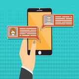 Chat messages notification on smartphone vector illustration, flat cartoon sms bubbles on mobile phone screen, man Royalty Free Stock Photos