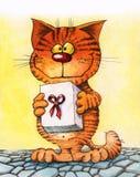 Chat mignon avec le boîte-cadeau Photo stock
