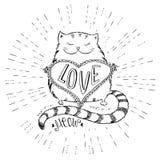 Chat mignon avec le coeur, la conception tirée par la main de T-shirt ou la carte de voeux illustration de vecteur