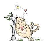 Chat mignon avec le coeur près de l'arbre illustration stock