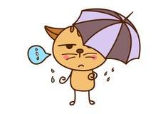 Chat mignon avec un parapluie dans la saison des pluies illustration stock