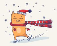 Chat mignon d'hiver Photographie stock