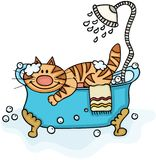 Chat mignon dans la baignoire avec la douche illustration libre de droits