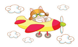 Chat mignon de bande dessinée sur un avion Photos libres de droits