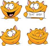 Chat mignon de gingembre jetant un coup d'oeil, tenant l'étiquette illustration libre de droits
