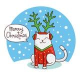 Chat mignon et drôle de Noël dans le chapeau avec des andouillers Images libres de droits