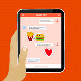 Chat mobile application with love stickers. Stock Images