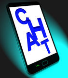 Chat  On Mobile Shows Talking Typing Or Texting Royalty Free Stock Photo