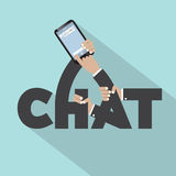 Chat On Mobile Typography Design Royalty Free Stock Images