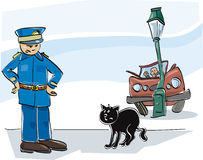 Chat noir illustration de vecteur