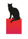 Chat noir. Illustration of black cat sitting on blue cuboid as copy space Royalty Free Stock Images