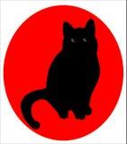 Chat noir au-dessus du rouge illustration de vecteur