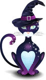 Chat noir avec le chapeau illustration stock