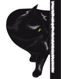 Chat noir avec les yeux jaunes Photos stock