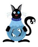 Chat noir avec un corps un aquarium Photographie stock libre de droits