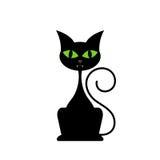 Chat noir d'isolement sur le fond blanc Photographie stock libre de droits