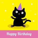 Chat noir de bande dessinée mignonne avec le chapeau. Carte de partie de joyeux anniversaire. Photos libres de droits