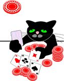 Chat noir de dessin animé jouant au poker sur la table. Grand dos Photographie stock