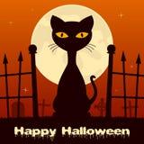 Chat noir de Halloween dans un cimetière effrayant Image libre de droits
