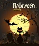 Chat noir de Halloween sur le vieux cimetière, illustration de vecteur Photo stock