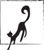 Chat noir de logo Photographie stock libre de droits